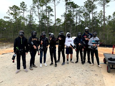 youth at paintball school field trip